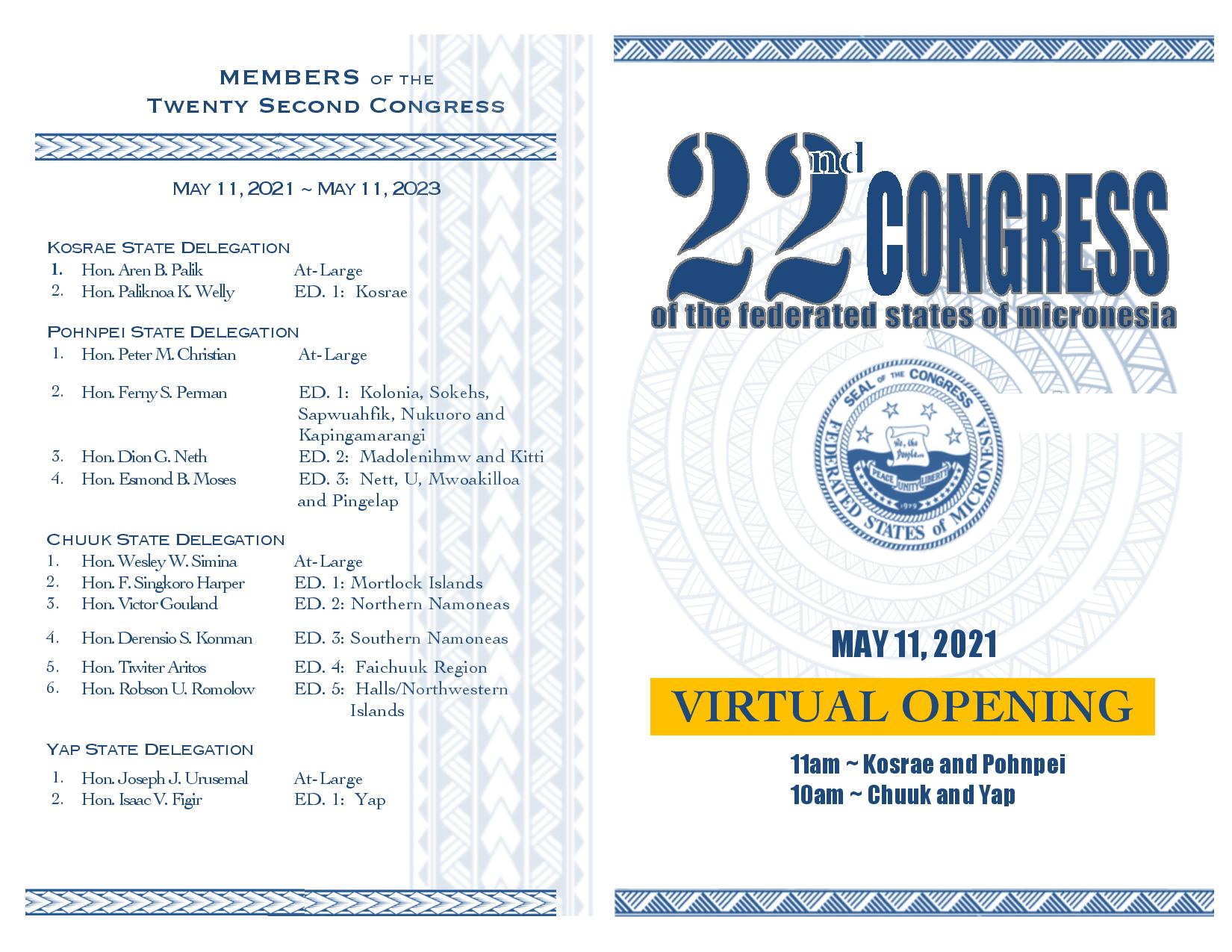 "Opening Ceremony and Session of the New 22nd FSM Congress to be Held Virtually ""Across All Micronesia"""